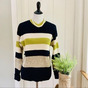 J CREW Navy & Chartreuse Striped V-Neck Sweater